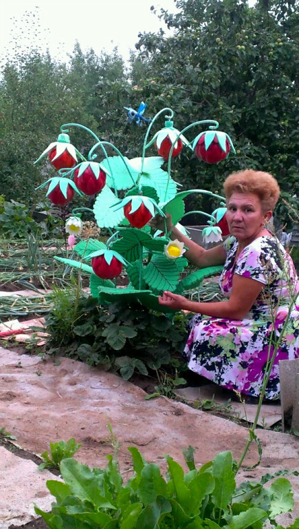Как сделать цветы из бутылок в огород