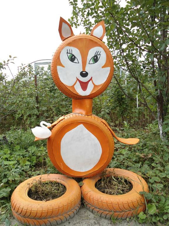 Поделки из колес для сада и огорода своими руками фото