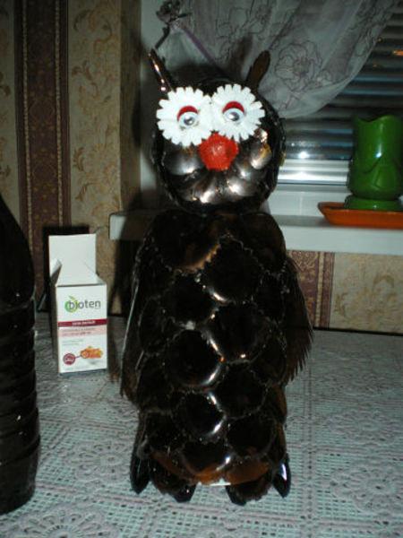 Мастер класс сова из бутылки пластиковой своими руками 704