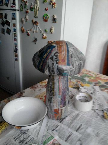 Как сделать гриб из папье-маше