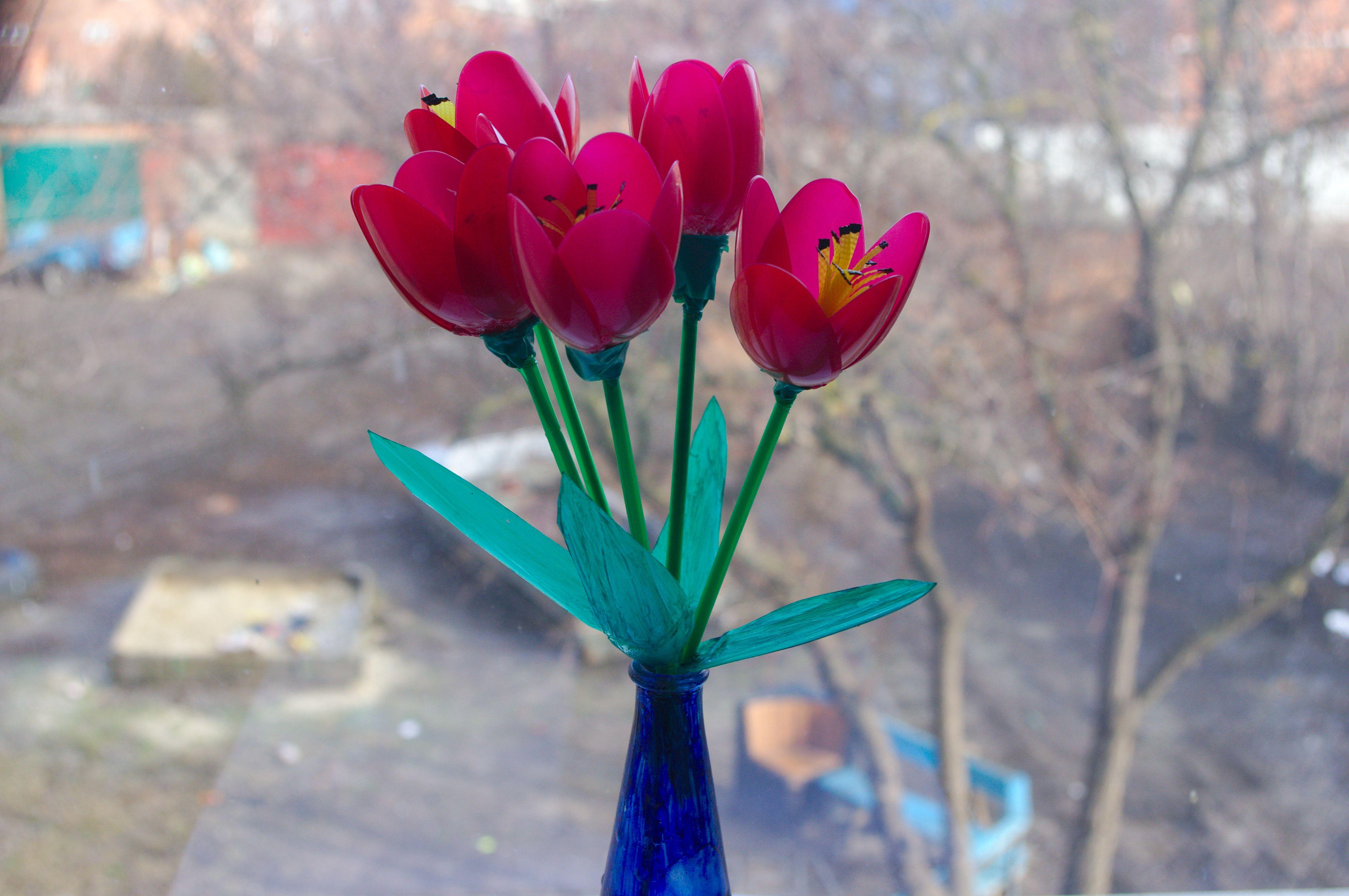 Как сделать тюльпан из пластиковой бутылки своими руками