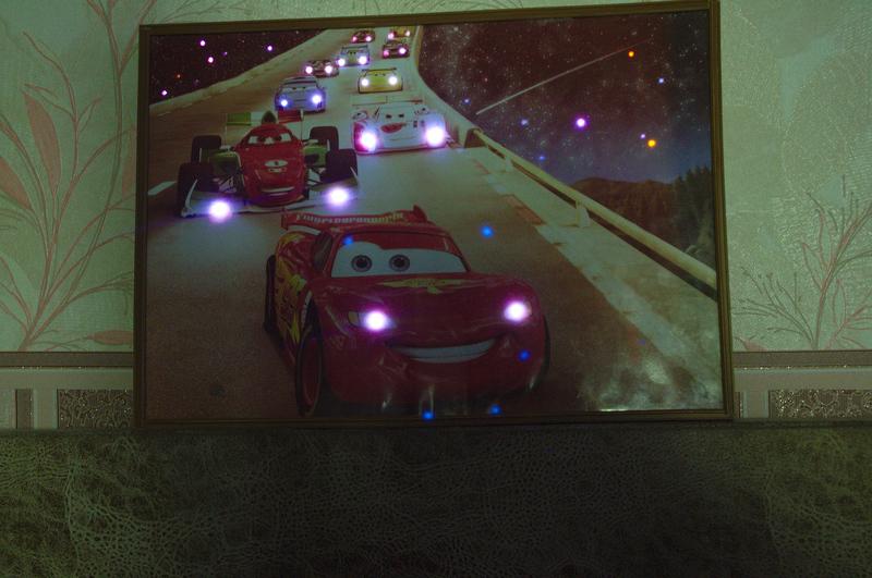 """светодиодная картина """"Тачки"""", своими руками,мастер класс, мк,картина с подсветкой, картины со светодиодами,украшение интерьера,идеи для детской, м/ф """"Тачки"""", картины с меняющейся подсветкой,пошаговое фото"""